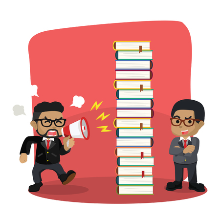Blue businessman blocking shout with book– stock illustration