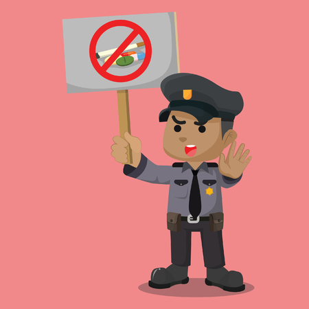 African police say no to drugs– stock illustration Illustration