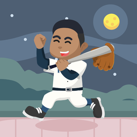 African baseball player happy after match– stock illustration Illustration