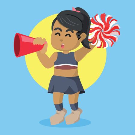 African cheerleader cheering with megaphone– stock illustration