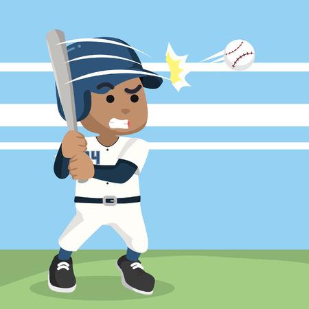 African baseball player hitting ball– stock illustration