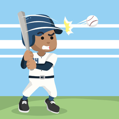 African baseball player hitting ball– stock illustration Illustration