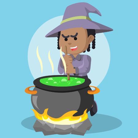 African witch cooking potion– stock illustration
