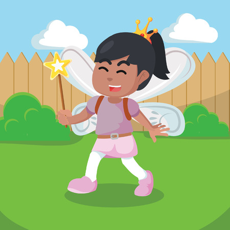 African girl dressed fairy costume cartoon– stock illustration