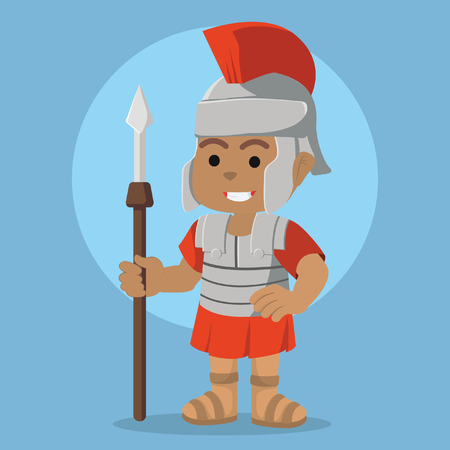 African roman soldier illustration design– stock illustration