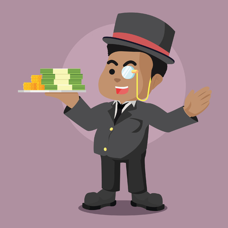 Fat african richman holding stack of money– stock illustration