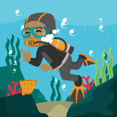 African diver swimming underwater cartoon illustration– stock illustration 向量圖像