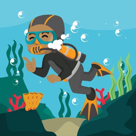 African diver swimming underwater cartoon illustration– stock illustration Vettoriali