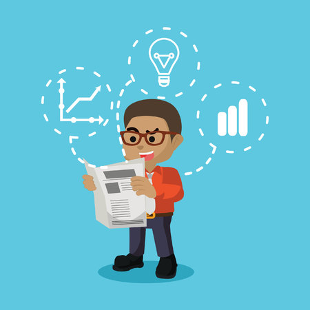African businessman reading newspaper– stock illustration Illustration