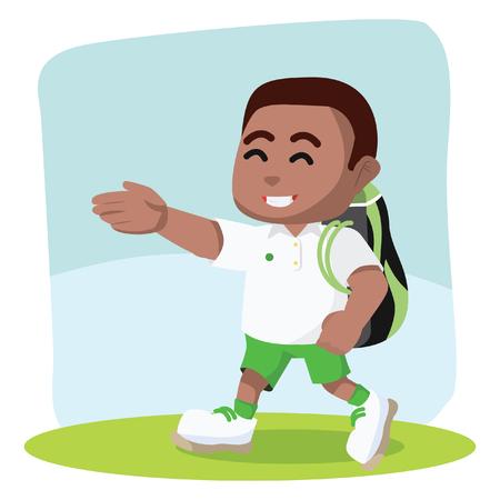 African boy tennis player walking carrying bag– stock illustration