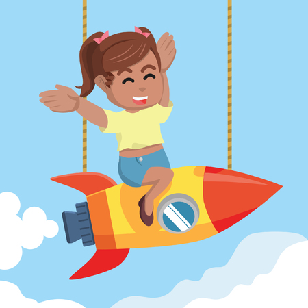 African beauty girl happy twin tail on rocket– stock illustration