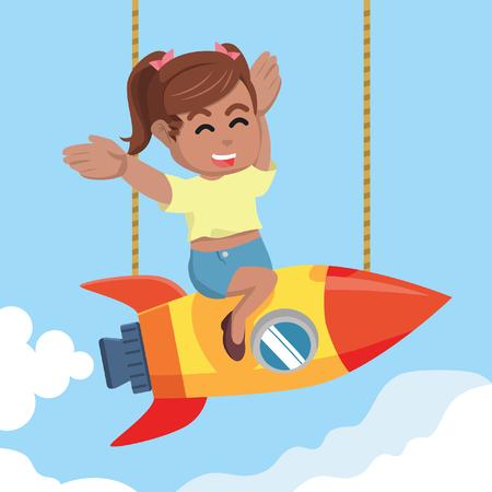 African beauty girl happy twin tail on rocket– stock illustration Illustration