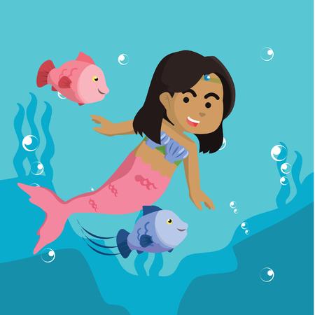 물고기와 놀고 아프리카 인 어 소녀 그림 주식.