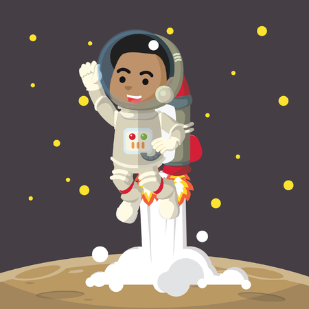 African looking male astronaut riding jetpack– stock illustration