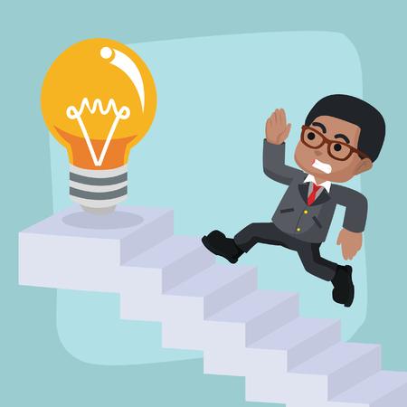 Homme d'affaires africain en cours d'exécution dans les escaliers - stock illustration Banque d'images - 93215839