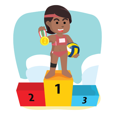 African girl volleyball holding medal– stock illustration Illustration