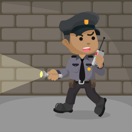 African police patrolling in a dungeon stock illustration.