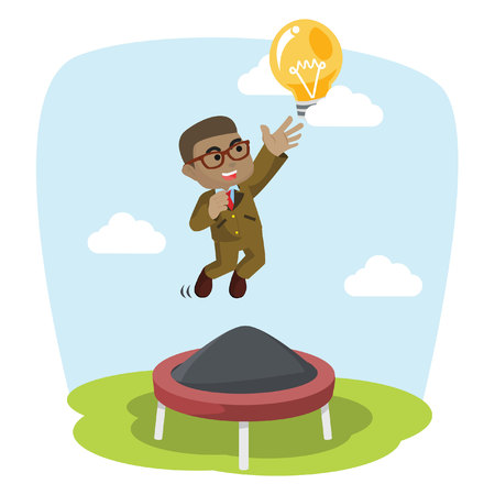 African businessman jumping on trampoline stock illustration.