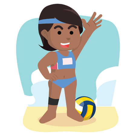 African girl volleyball player– stock illustration