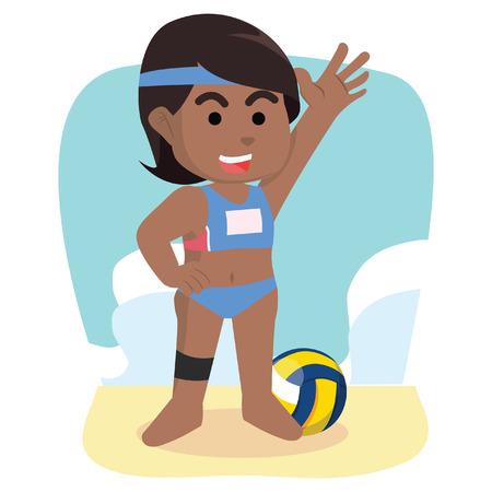 African girl volleyball player– stock illustration Illusztráció