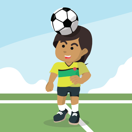 African female soccer player putting ball on her head– stock illustration