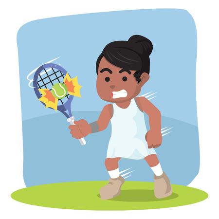 Joueuse de tennis africaine a frappé la balle - illustration de stock. Banque d'images - 92879596