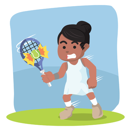 African female tennis player hit the ball– stock illustration.