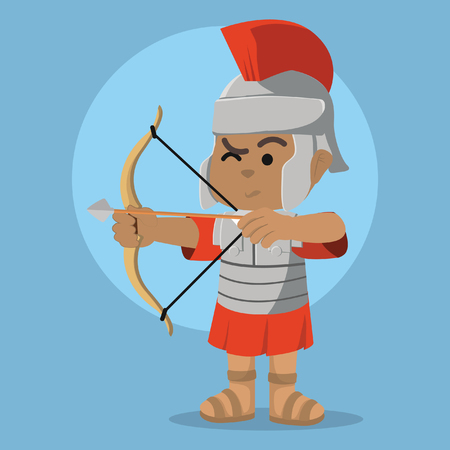 African roman soldier with bow– stock illustration
