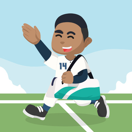 Afrikaanse honkbalspeler dragende zak na gelijke voorraadillustratie