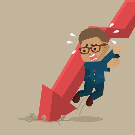 African businessman evading falling graphic– stock illustration