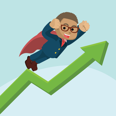 Super blue businessman with raised graph– stock illustration.