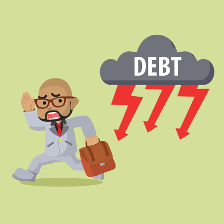 African businessman running from debt thunder– stock illustration