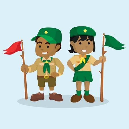 African boy scout and african girl scout– stock illustration