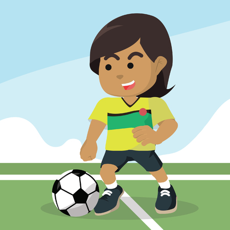 African female soccer player dribbling ball– stock illustration