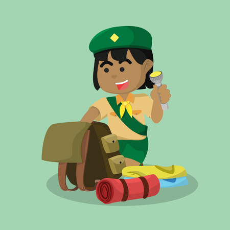 African girl scout packing equipment– stock illustration.