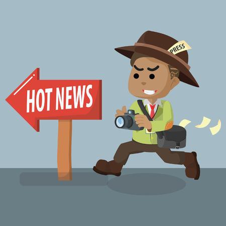 African journalist following hot news– stock illustration Illustration