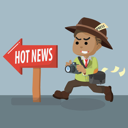 African journalist following hot news– stock illustration Illustration