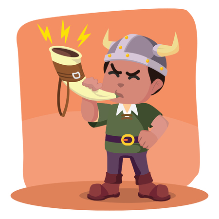 African viking blowing war horn– stock illustration. Stock Vector - 92879604