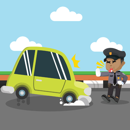 African police stopping car– stock illustration