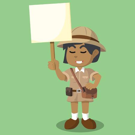 African girl explorer holding sign– stock illustration