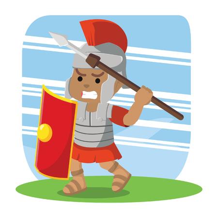 """Afrikaanse Romeinse soldaat die speer voor het gooien â ? """"stock illustratie"""