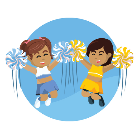 Two african cheerleader jumping together– stock illustration