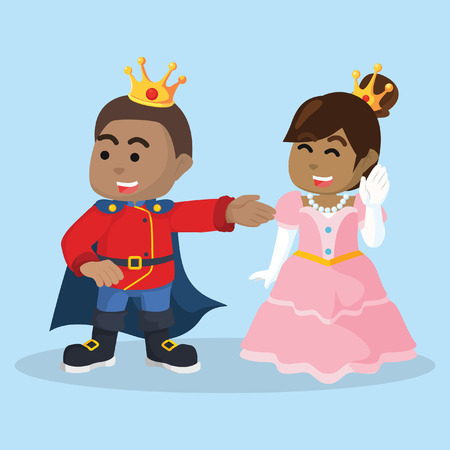 African king and African princess– stock illustration.