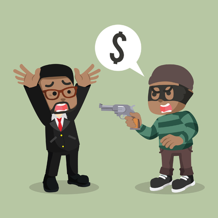 African thief robbing a man– stock illustration. Illustration