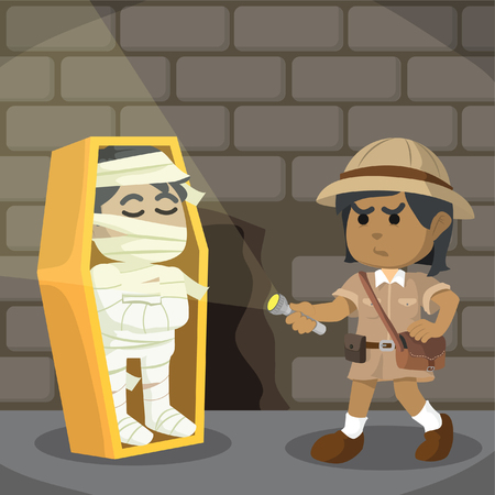 African woman explorer finds mummy in catacomb– stock illustration