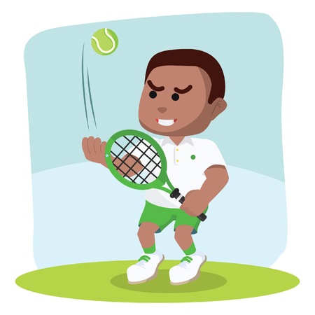 African boy tennis player ready to hit– stock illustration