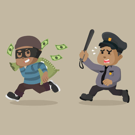 African fat police tired chasing african thief– stock illustration Illustration