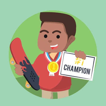 African skater boy champion get certificate and medal– stock illustration