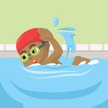 アフリカの少年水泳イラストâ€」ストックイラスト