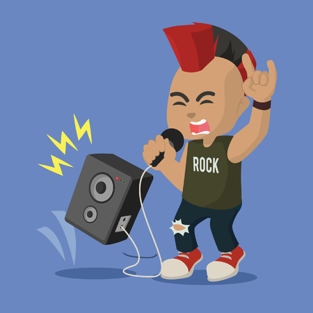 African rocker scream illustration design– stock illustration